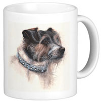 Scruffy jack russell terrier on a mug