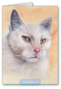 White cat greeting card